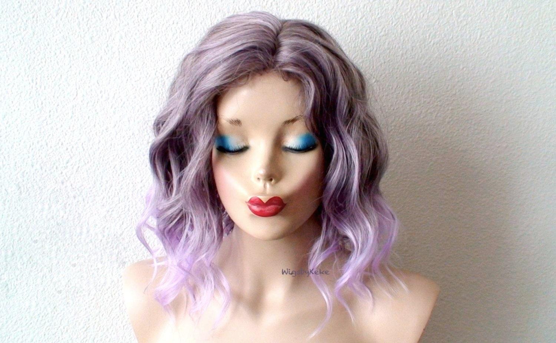 Pastel Lavender Wig. Short Beach Waves Hairstyle Wig