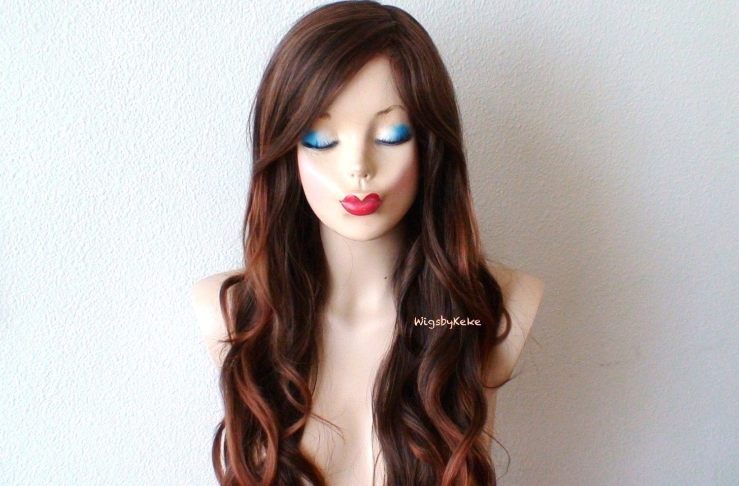 Ombre wig. Brown / Auburn ombre wig. Long wavy hairstyle wig.