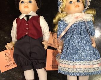 """Kingstate Dollcrafter Pair Twins JASON & JULIE Porcelain Dolls 10"""""""