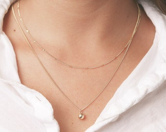 Gold Layered Necklaces Set Tiny Ball Pendant Delicate Thin Gold  Necklaces Everyday Simple Circle Necklace Gold Filled Jewelry.