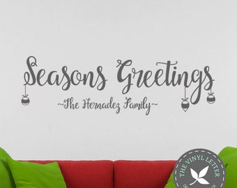 Seasons Greeting Custom Personalized Christmas Holiday | Vinyl Wall Home Business Decor Decal Sticker