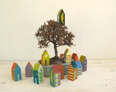 The Village, 6 small wooden houses, handmade ,painted by me!