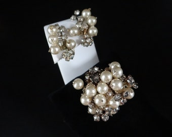 Circa 1930s Gorgeous Pearl and Rhinestone Brooch and Clip Earring Set - Elegant Design - 1930s 1940s Jewelry - Antique Demi-Parure Set