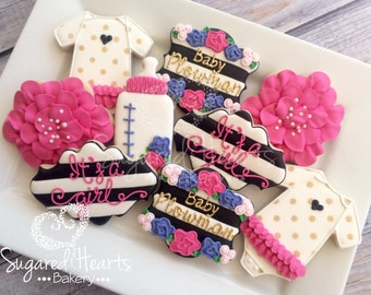 Black and White Stripe Floral Designer Baby Shower Cookies - 1 Dozen