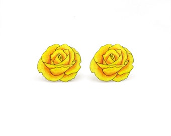 Yellow Rose Earrings, Rose Jewelry, Rose Jewellery, Flower Earrings, Flower Jewelry, Flower Jewellery, Shrink Plastic