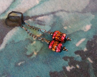 Organic Dichroic Lampwork Drop Earrings in Copper, Gold and Black; Boho Artisan Chained Dangles, hiddenfirepottery
