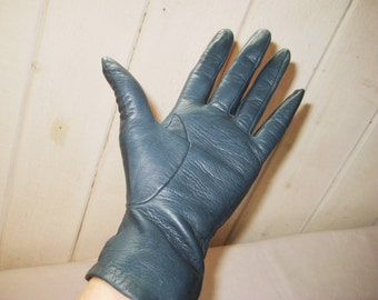 Dark royal blue leather gloves, driving gloves, 70s 80s, lined gloves, size 7