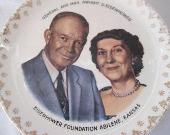 General Dwight Eisenhower collectible plate, Eisenhower foundation, Kansas, president collectible, Mr.  Mrs. Eisenhower, mid century, 1051