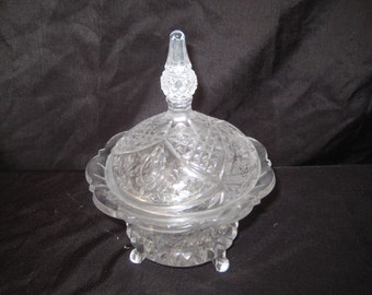 Clear cut glass footed bowl with lid, candy nut dish bowl, decorative ornate glass bowl, scalloped edge, mid century, 1069