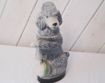Collectible gray poodle decanter, Jim Beam whiskey container, 1970, Kentucky, vintage barware, grey poodle figurine, statue