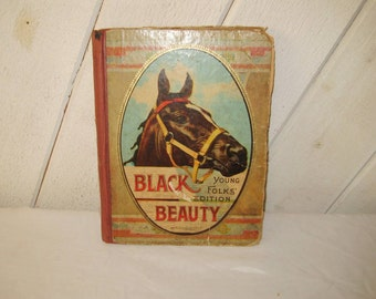 Antique Black Beauty book, childs book, 20s 30s, Anna Sewell, hardback, young folks edition, MA Donohue & Co