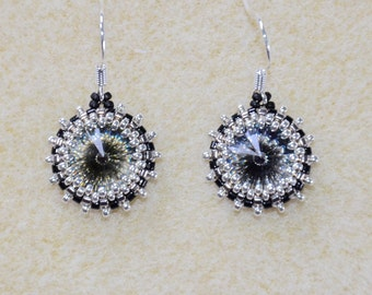 Great Gatsby or Phryne Fisher style art deco 1920s black silver crystal earrings