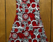 Cheerful midcentury-inspired red, black, white, and grey chef's apron, ladies' kitchen apron