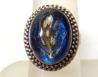 Blue Feather Ring Adjustable