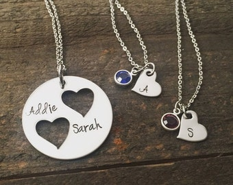25% OFF Mother Daughter Necklace Set, Hand stamped Personalized jewelry, Mother necklace, daughter necklace