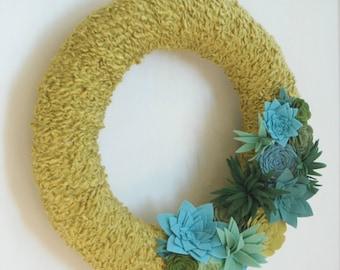 Felt Succulent Wreath - Year Round Wreath - Handmade Faux Succulents Yarn and Felt Wreath - Made to Order