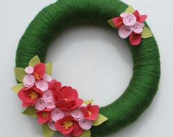 Summer Wreath - Pink and Green Yarn and Felt Wreath - 100% Wool Felt Flower Wreath - 14 inch - Ready to Ship