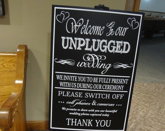 Decal Unplugged Wedding Bride Groom Decor Chalkboard Turn off Camera and Cell Phones Decor Decoration Church Reception DIY Sign Announcement