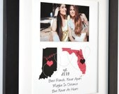 Custom Best Friend Gift: Long Distance Present Going Away True Friendship Quote Print Personalized Map Gift For BFF Photo Gift For Daughters