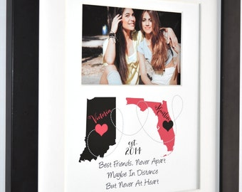 Custom Best Friend Gift Long Distance Present Going Away True Friendship Quote Print Personalized Map Gift For BFF Photo Gift For Daughters