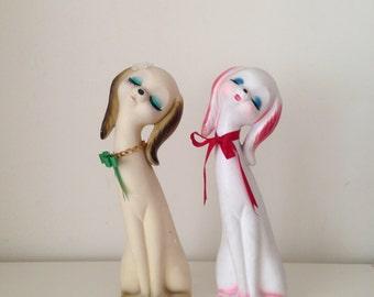 Vintage 1970s plaster Adorable puppy sisters Figurine