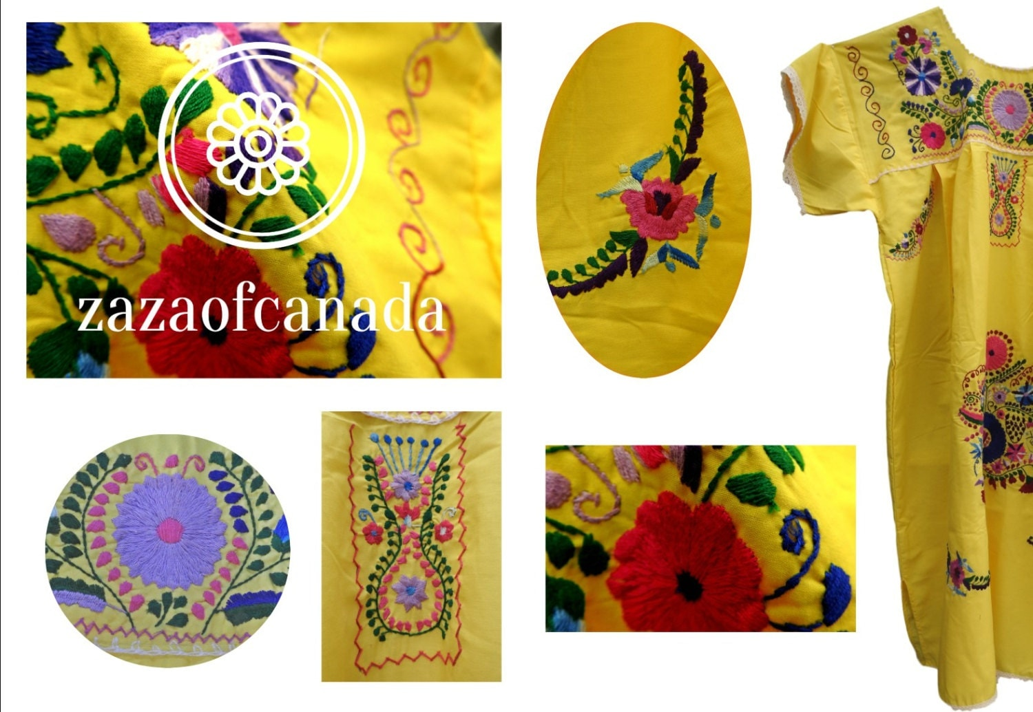 Yellow Mexican Embroidered Dress