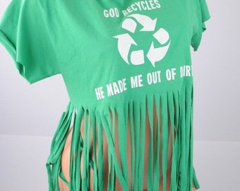 OOAK Green Jesus God Recycles Christian School Tassel crop top shirt upcycled M