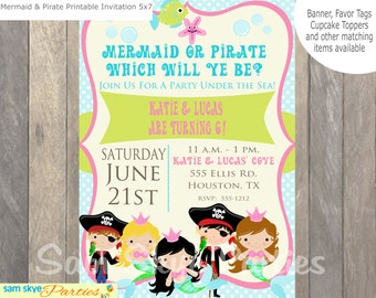 Under the Sea, Pirate and Mermaid Invitation, Birthday Parties, Mermaid Party, Pirate Party, Baby Shower Printable File