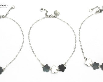 Anklet bracelet with flower in stainless steel, ideal for the beach and pool, summer jewelry, bracelet for sea, bridesmaids, wedding, gift