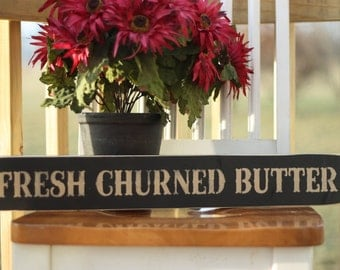 Fresh Churned Butter Primitive Wood Sign On Sale
