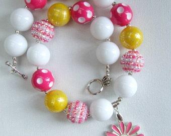 Bubblegum bead necklace flower pendant fob clasp