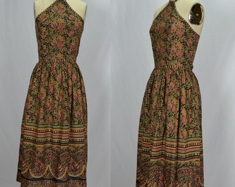 NOS Vintage Indian Cotton Phool Block Print Dress With Amazing Neck Piece