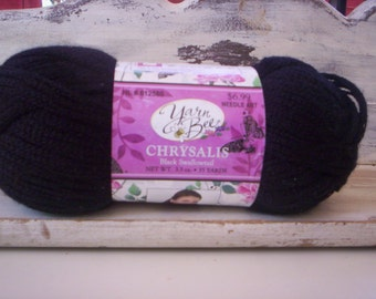 100% acrylic yarn/Yarn bee chrysalis black swallowtail yarn/Kniting projects/Crochet projects/Craft projects/Needle art/Black yarn/Crafting