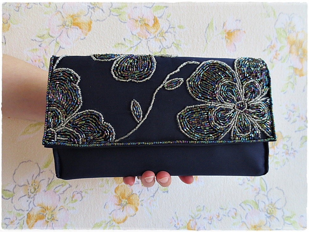beaded clutch purse navy blue satin evening purse sparkling