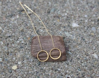 Gold Threader Earrings Threader Earrings Pull Through Earrings Long Gold Earrings Gold Circle Earrings Ear Thread Minimalist Earrings