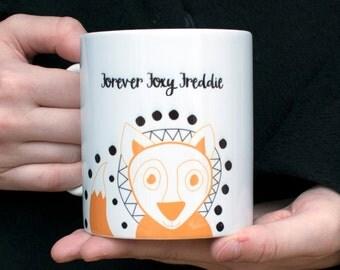 Fox Coffee Mug-Personalised Mug-Cute Fox Mug-Mug Gift-Personalized Mug Gift-Fox Gift-Animal Mug-Birthday Gift for Mum-Cute Gift for Friend