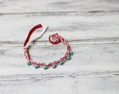 Crochet March bracelet with turquoise beads, red white, cotton March braclelet, Greek Martis bracelet, crochet friendship bangle, boho cuff