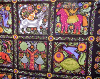 In the Beginning Folklorica 100% Cotton Fabric Quilt Quality Whimsical Animals (2009) Nature Themed Quilt Quality Fabric OOP Julie Paschkis
