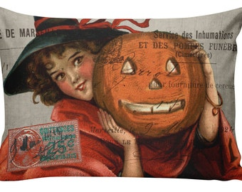Halloween Pillow, Halloween Decor, Vintage Cat, Creepy, Burlap Cotton Throw Pillow Cover, INSERT INCLUDED, Sewn inside, #HA0234
