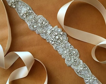 Wedding Dress Sash - Vintage Rhinestone Sash - NEW YORK - NEW