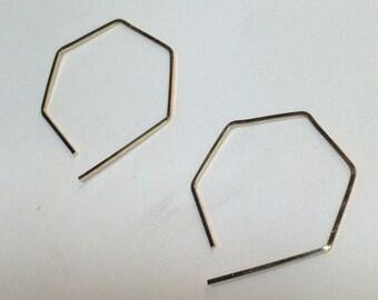 Hexagon Honeycomb Geometric Modern Earrings - Geometric Jewelry - Simple Hoop Earrings