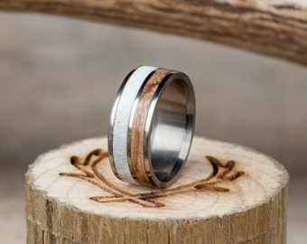 Mens Wedding Band Spalted Maple and Antler Ring - Staghead Designs