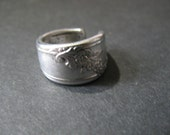 Bent knife or spoon ring silver plated size 6 1/2