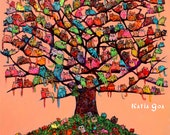 """Stretched Canvas Art Print """"Meau Tree""""  Extra large 32/26 inch 294 meaus"""