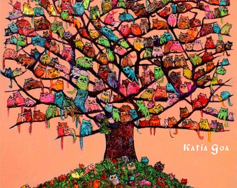 """Cats Big Art Print on Canvas """"Meau Tree""""  Extra large 32/26 inch 294 meaus"""