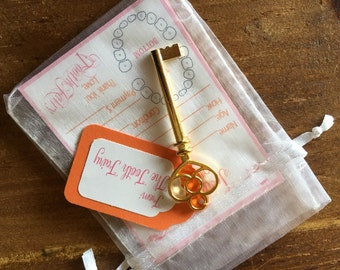 Pink/Orange Set of Tiny Tooth Fairy Receipts from Tooth Fairy