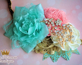 Go For a Swim - Headband, Baby Headband, Couture Headband, Summer Headband, OTT Headband, Dolphin Headband, Aqua Coral Gold Ivory