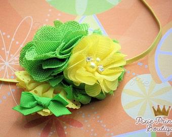 Freshly Squeezed - Headband, Baby Headband, Photography Prop, Couture Headband, Hair Clip, Summer Headband, Yellow Green, Lemon Lime