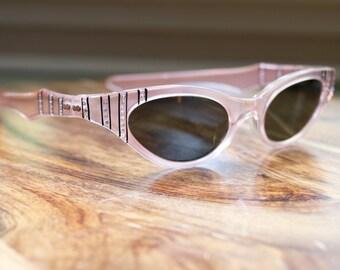 Vintage May Pink Rhinestone Cat Eyeglasses Mid Century Modern Estate Sale Find