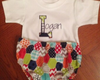 Boy's Diaper  Cover and Matching Name Shirt